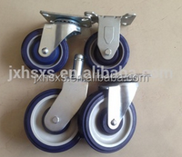 6.4 inch heavy duty grey tpr fixed caster and wheel