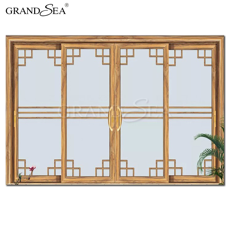 Kitchen wood pattern frame aluminum sliding glass door with stainless steel hardware