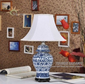 Chinese Traditional Blue White Ceramic Ginger Jar Table Lamps For Living  Room