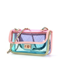 2020 transparent custom handbag clutch hand bags mini shoulder crossbody jelly bag pvc fashion plastic clear handbags for women