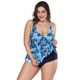 Deep V Neck Printed Plus Size Swimming Bathing Suit Ladies Tankini
