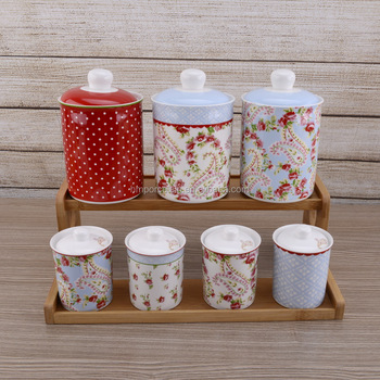 Elegant Ceramic 7pcs Storage Jar Set New Bone China Tea Coffee Sugar Canisters