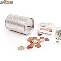 Savings tin can coin bank oil drum shaped metal money box