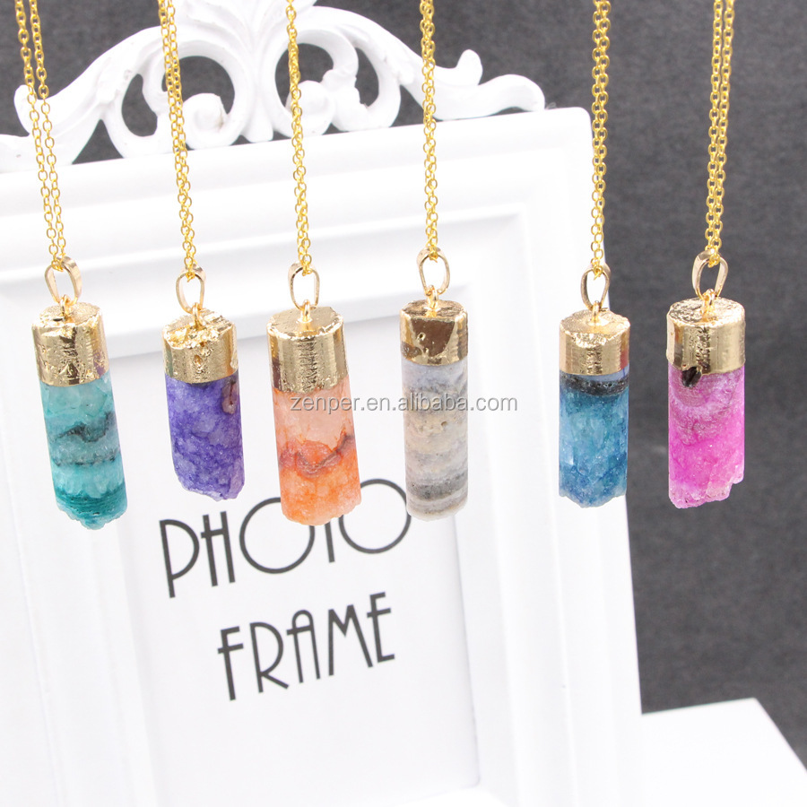 Natural amethyst original stone necklace / cylindrical crystal natural stone pendant / personalized sweater chain ornaments