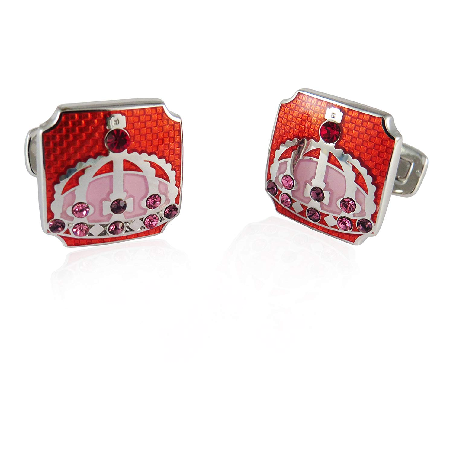 Royal Crown Cufflinks in Red By Jewelry Mountain