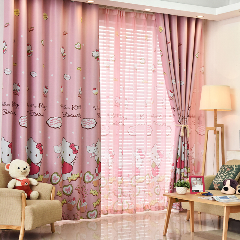 High Quality 1PC Pink Hello Kitty Printed Sliding Blackout Window Curtains Drapes Panels For Kids Bedroom Fabric For Houses