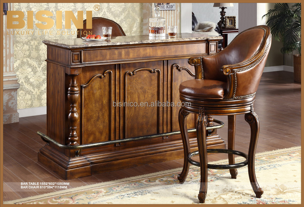 Classic Solid Wood Hand Carved Bar Cabinet With Marble Counter Top Antique Leather Bar Stool
