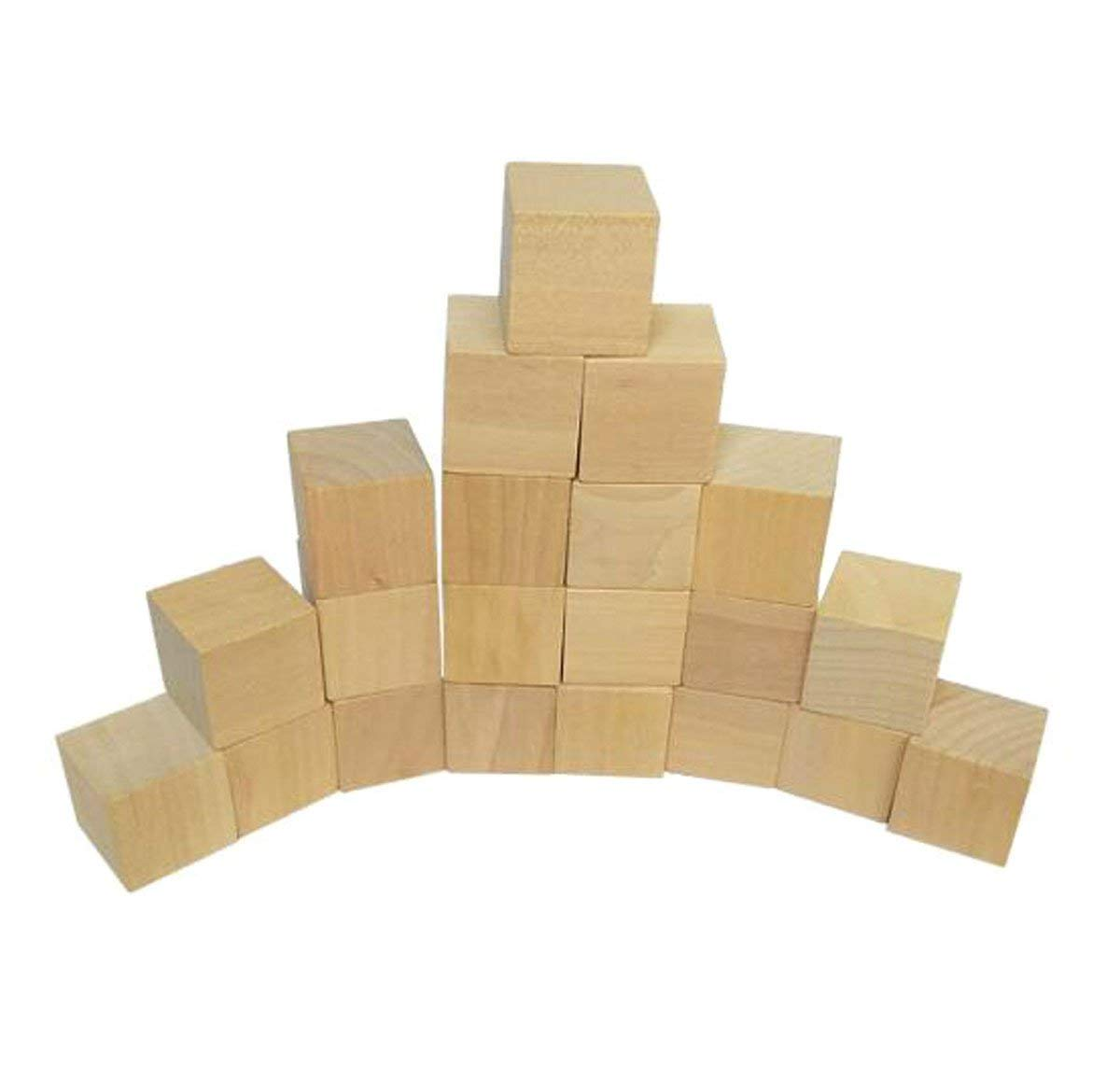 50 Pieces Blank Wooden Cubes - Wood Square Blocks - Unfinished Craft Wood Blocks for DIY Crafts Carving Art Supplies (20 x 20 x 20mm)