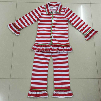 1bdc87cd3 Niño y niña pijamas de Navidad set rojo y blanco Navidad franja verde y  blanco pijamas