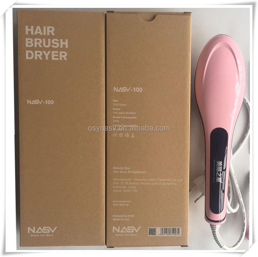 LCD Hair straightener brush NASV Paypal accepted CE FCC ROHS certificated magical hair straightener brush with ceramic heater
