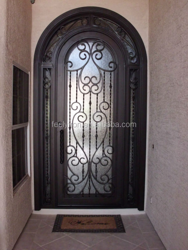 Entry Doors In Wrought Iron With Transom And Sidelight Entry Doors