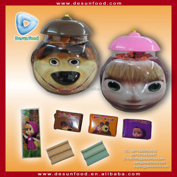 The Bear love is gum with tattoo sticker in cartoon jar