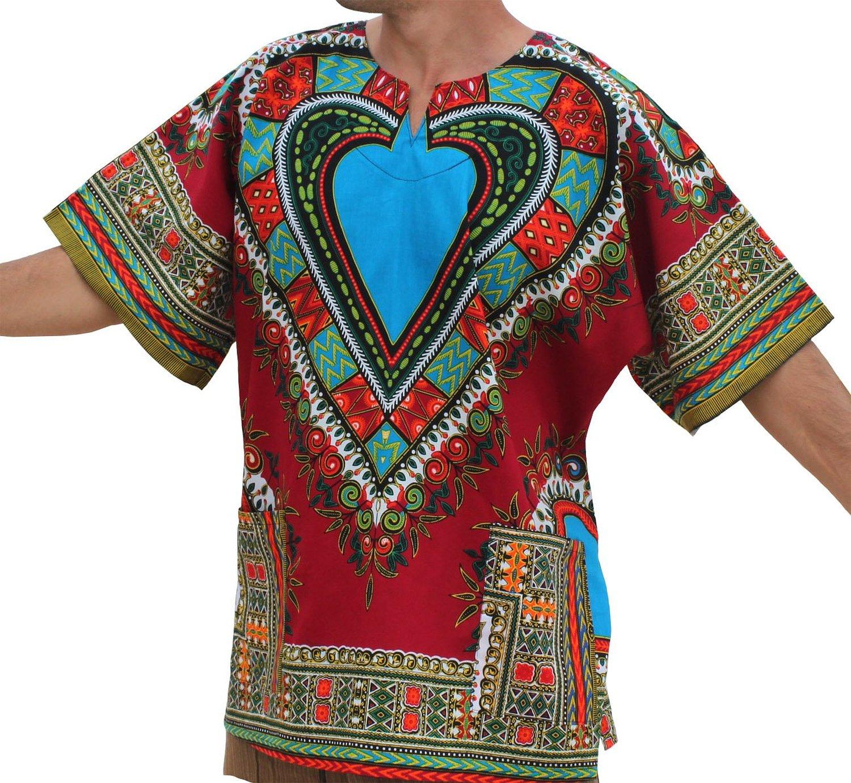 d77f0038d53 Get Quotations · RaanPahMuang Unisex Bright Africa Heart Dashiki Cotton  Plus Size Shirt