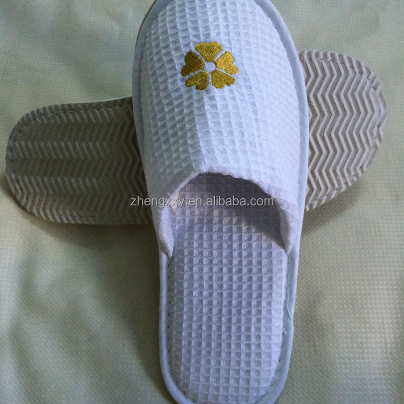 waffle material with anti slip eva sole hotel disposable indoor slippers