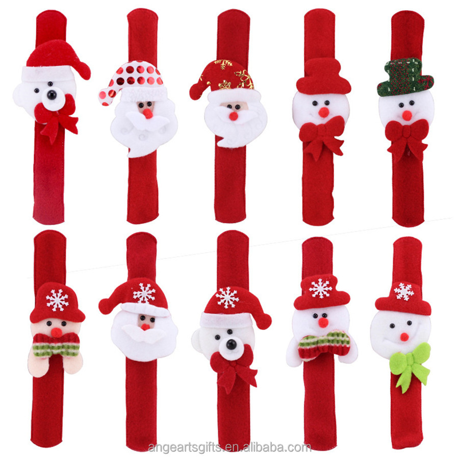 Christmas Promotion <strong>Gifts</strong> Snap bands Non woven snap bands Christmas snow man wristbands