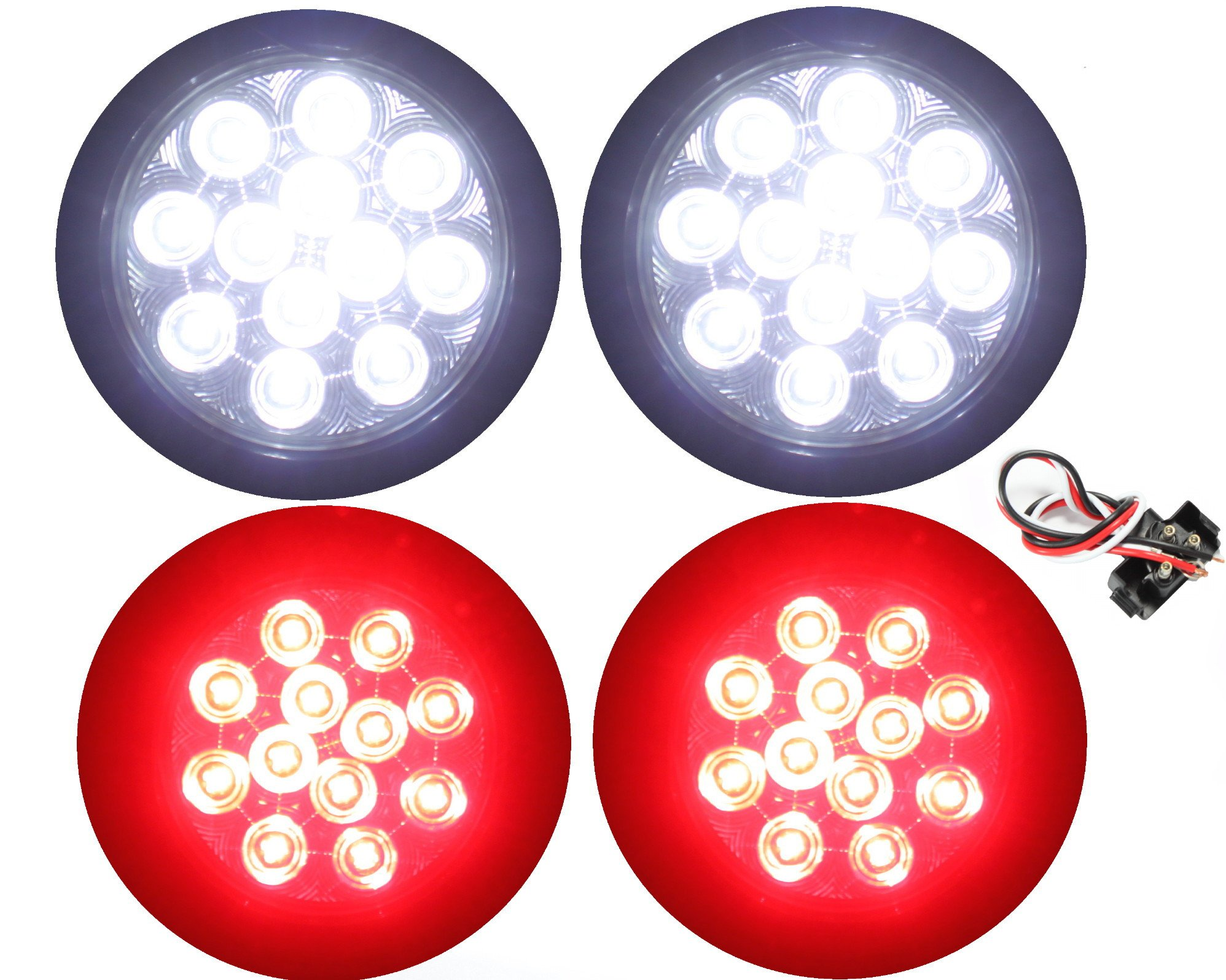 512d705e4a ... Reverse Fog Lights Include Lights Grommet Plug for Truck Trailer RV.  39.99. null. Get Quotations · 2 Clear Lens Red + 2 White 4