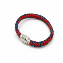 2018 Fashion Red Leather Unisex Magnetic Braided Bracelet Bangle