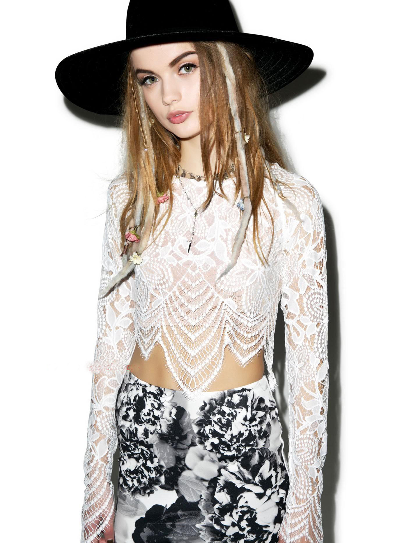 b8454b3ba33 Get Quotations · Lace Crop Top And dress Set Summer 2015 Hollow Out Solid  White Flower Lace Long Sleeve