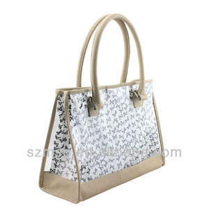 PVC+PU transparent clear woman handbag with cotton printing cosmetic bag