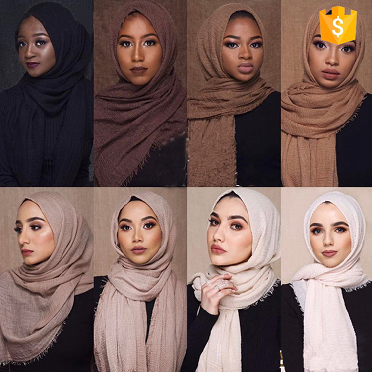 CU-001 Drop shipping Hijabs Scarfs 2018 Fashion Design Cheap Cotton linen Women Hijab Muslim Solid colors crinkle <strong>Scarf</strong> Hijab