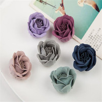 fashion promotional solft leather slipper shoes brooch hair clip garment artificial flower accessories