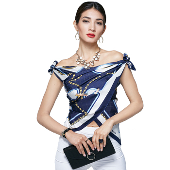 Free Sample No MOQ Custom Digital Printed 100 Pure Satin Silk Scarf Square Neck Scarves For Lady
