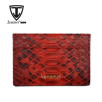 Customized Color Python Snakeskin Leather Business Credit Card Holder Wallet