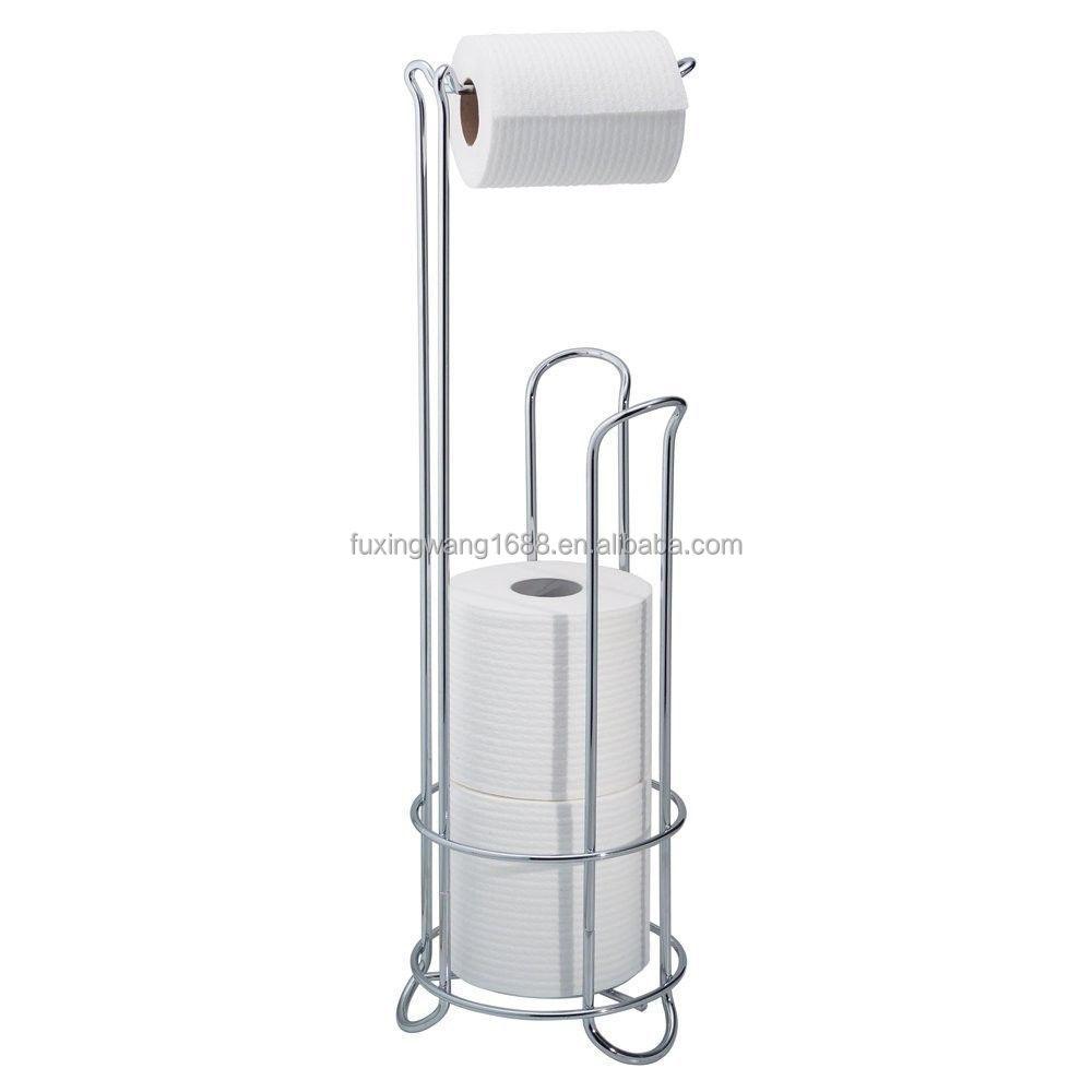 towel stand chrome. Bathroom Toilet Tissue Paper Roll Holder Metal Floor Stand Storage Towel Rack Chrome O