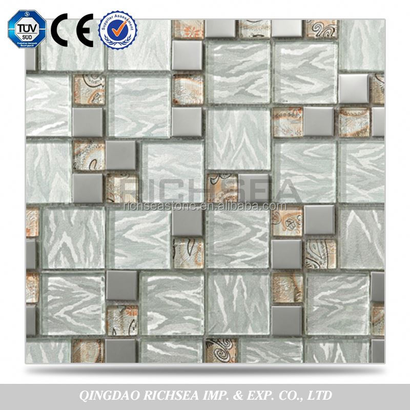 Ample Supply Bathroom Wall Tiles Flower Pattern Glass Mosaic Tile