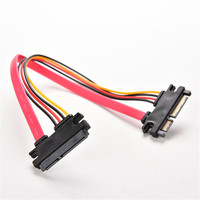 Hot male to female 7+15 pin HDD extension sata data power cable