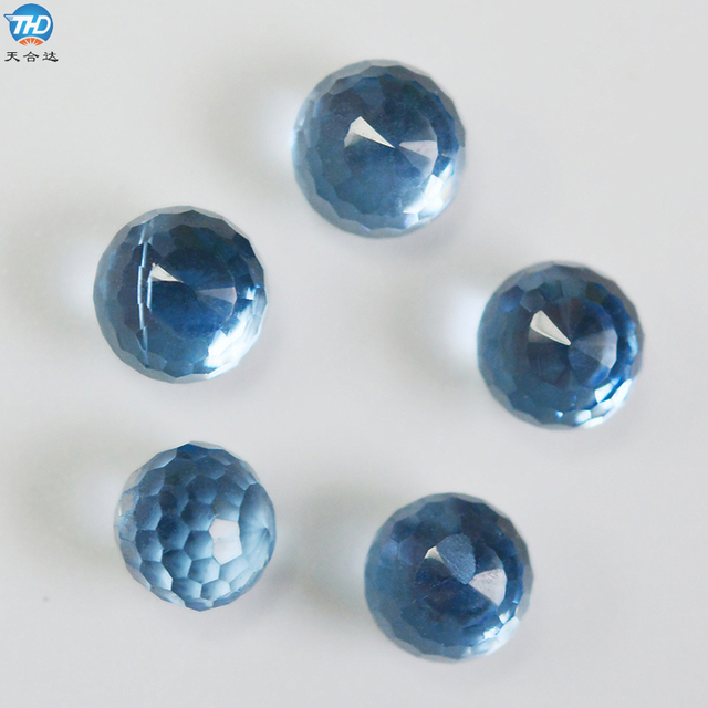 Good quality ball shape blue color crystal gems wholesale