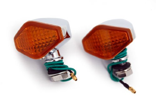 Mini Motorcycle LED Blinkers Turn Signals Amber (Diamond) for Harley-Davidson