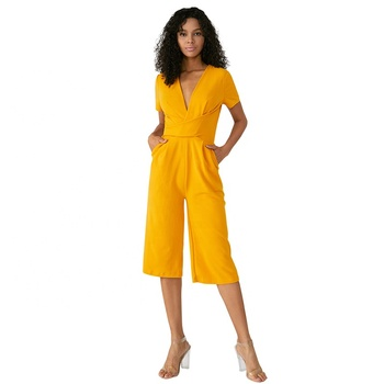 2018 New Fashion Yellow Blue Solid Fat Women V-neck Minimalist Jumpsuit