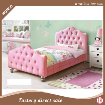 Girls Princess Bed Pink Pu Leather Twin Bed Frame Y