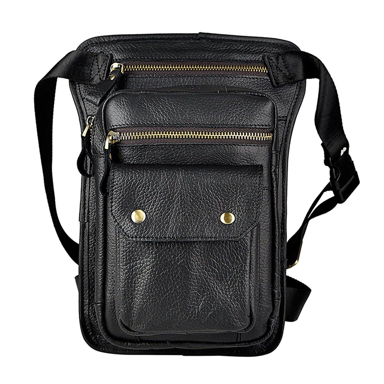 42dac023dd Get Quotations · Genda 2Archer Mens Crazy Horse Leather Messenger Waist Hip  Leg Bag