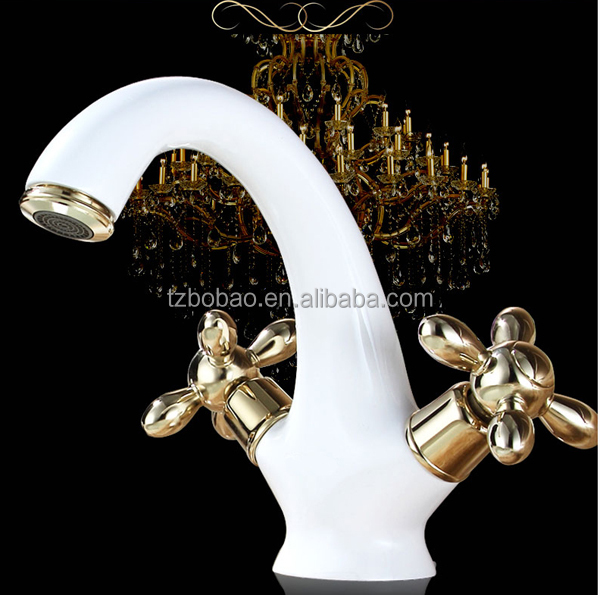 Best Price Modern Washroom Basin White Water Taps Brass White Dragon Design