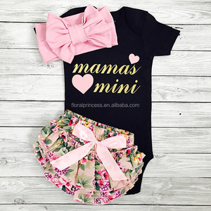 2017 Autumn Girl Mamas' Mini Letter 3pcs Suit Pink Headband + Long Romper+ Floral Shorts For 0-24 Months