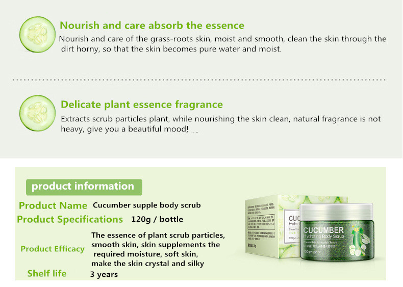 Bioaqua Organic Cucumber Hydrating Nourish Face Skin Care Body Scrub