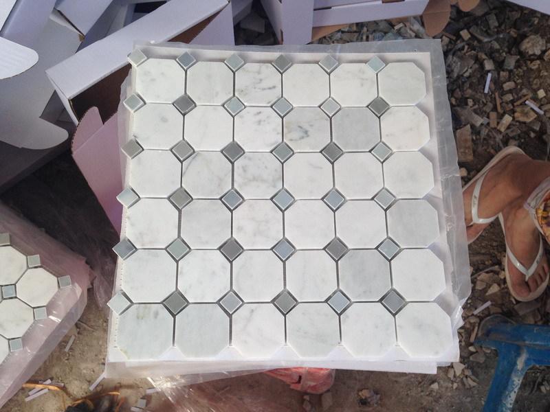 Marmo bianco di carrara piastrelle a mosaico ottagonale grigio punti