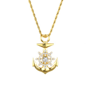 Gold Anchor Pendant Necklace New Design Stainless Steel Anchor Pendant
