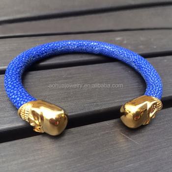 Oem Custom Blue Stingray Cuff Bracelet Bangle Skull For Mens