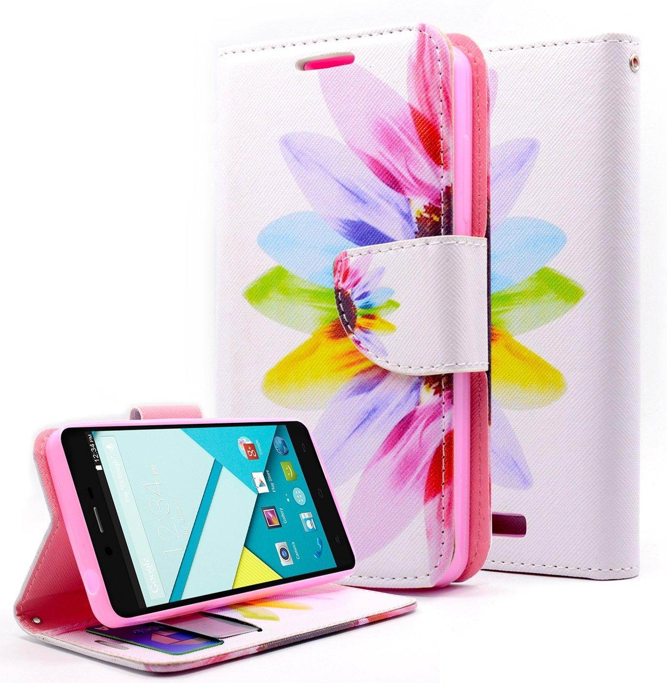 BLU Studio Energy Case, NageBee - BLU Studio Energy Design Dual-Use Flip PU Leather Fold Wallet Pouch Case for BLU Studio Energy D810L (AT & T, Metro PCS, T-Mobile) (Wallet Sunrise)