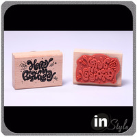 wood handle stamp, custom wood block stamp, wood branding