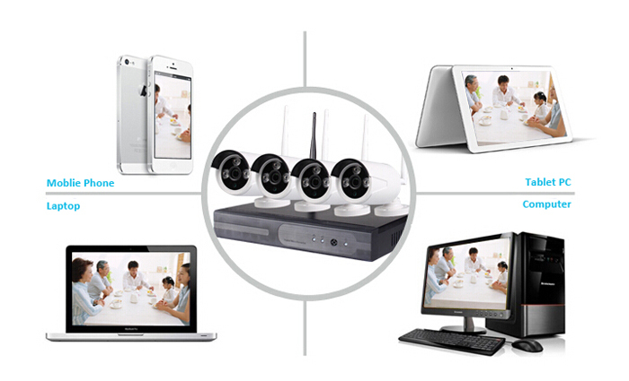 LS VISION 4ch and 8ch nvr kits 960P security camara cctv with CE Rohs FCC certificate
