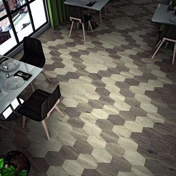 Hexagon Beehive Shaped Wooden Grain Ceramic Floor Tiles 300mm
