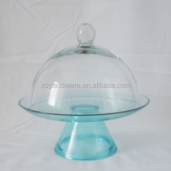 Turquoise glass cake stand with clear cheese glass dome for Colored glass cake stand