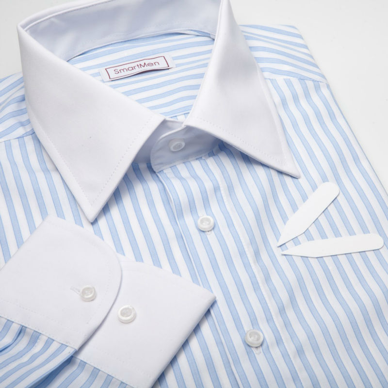 Striped Blue Dress Shirt With White