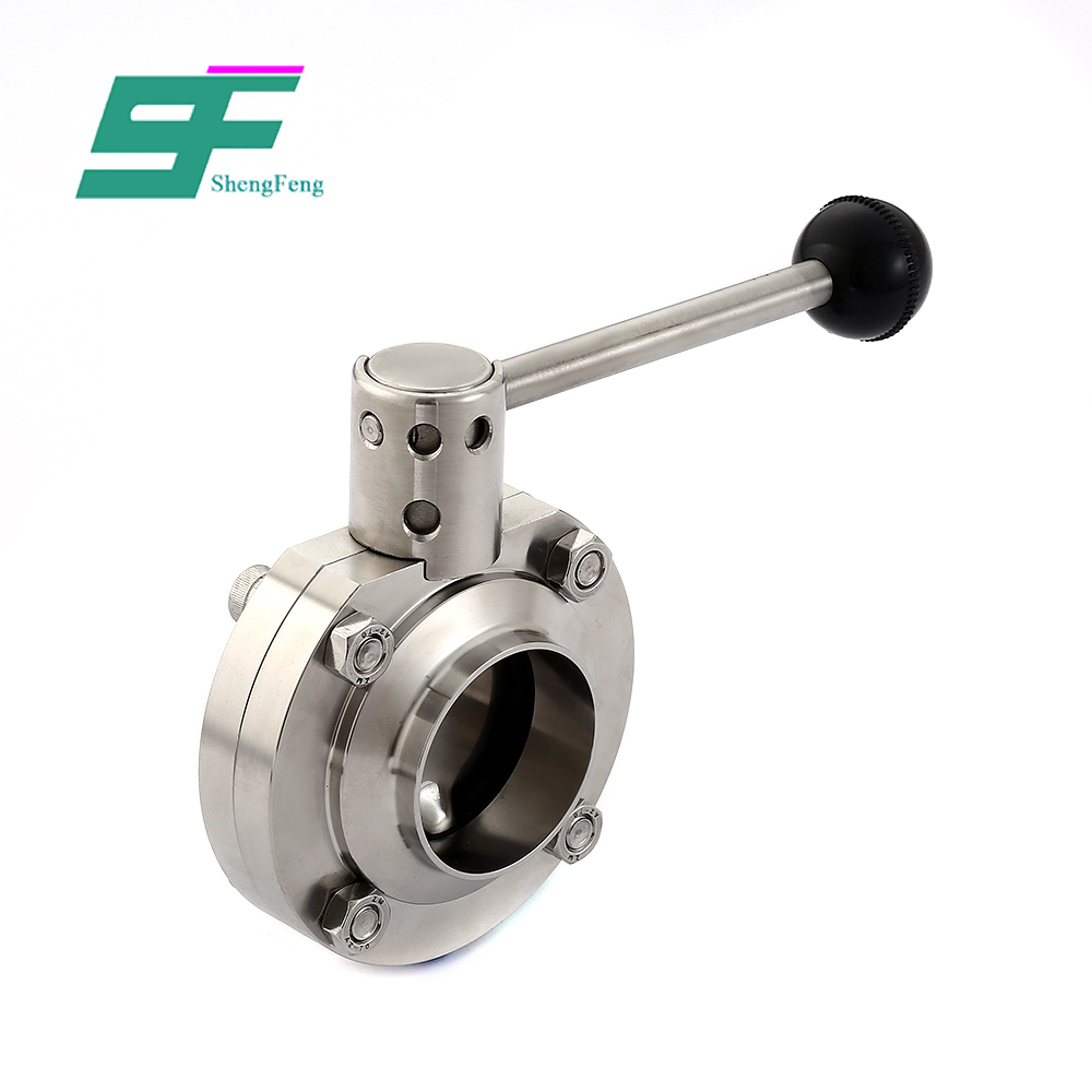 Factory direct sale pneumatic operated sanitary food grade control weld butterfly valve