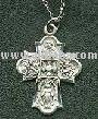 Sterling Silver 4 Way Medal Cross Necklace, 24