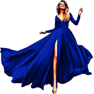 2019 Euramerican foreign trade hot sale new style dresses hot style sexy deep V-neck long sleeve prom dresses ball-gown skirt